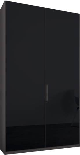 An Image of Caren 2 door 100cm Hinged Wardrobe, Graphite Grey Frame, Basalt Grey Glass Doors, Premium Interior