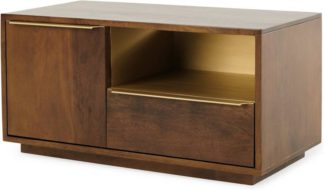 An Image of Anderson Compact TV Stand, Mango Wood and Brass