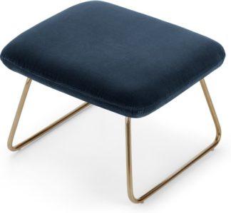 An Image of Frame Footstool, Navy Cotton Velvet
