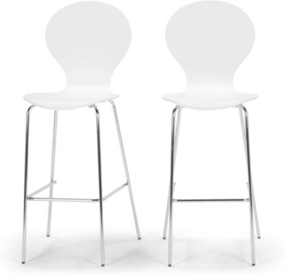 An Image of Set of 2 Kitsch Barstool, White and Chrome Legs