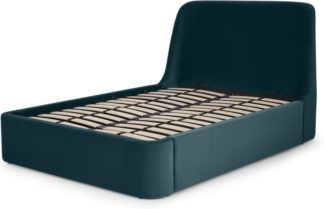 An Image of Hayllar King Size Bed with Ottoman Storage, Steel Blue Velvet