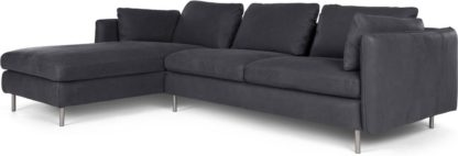 An Image of Vento 3 Seater Left Hand Facing Chaise End Corner Sofa, Grey Leather
