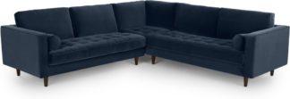 An Image of Scott Corner Sofa, Navy Cotton Velvet