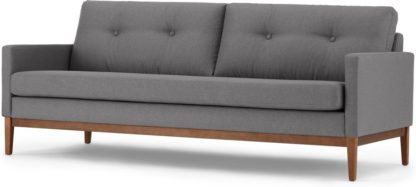 An Image of Edison 3 Seater Sofa, Textured Coin Grey