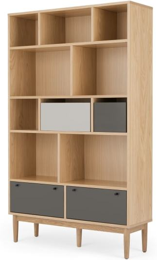 An Image of Campton Wide Bookcase, Oak and Grey