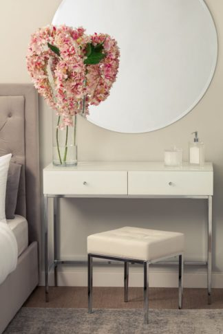 An Image of Stiletto Toughened White Glass and chrome Console Table