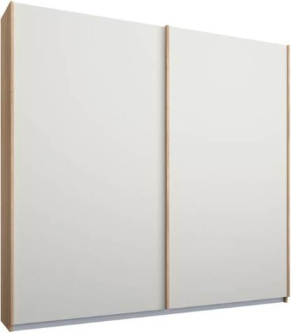 An Image of Malix 2 door 181cm Sliding Wardrobe, Oak frame,Matt White doors, Standard Interior