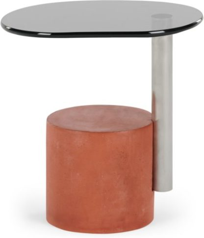 An Image of Calvin Side Table, Brushed Stainless Steel and Coral