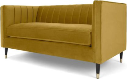 An Image of Evadine 2 Seater Sofa, Vintage Gold Velvet