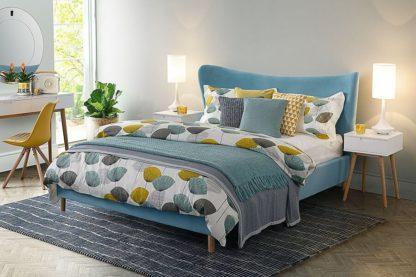 An Image of Tretton Bed Azure Blue Velvet
