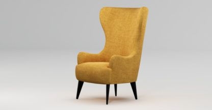 An Image of Custom MADE Bodil Accent Chair, Imperial Yellow with Black Wood Leg