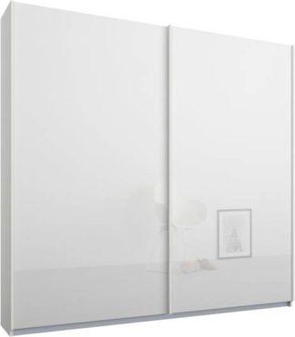 An Image of Malix 2 door 181cm Sliding Wardrobe, White frame,White Glass doors, Standard Interior