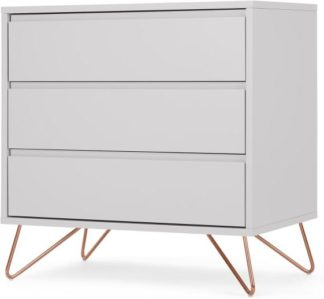 An Image of Elona Compact Chest of Drawers, Light Grey & Copper Legs