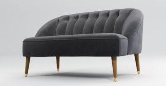 An Image of Custom MADE Margot 2 Seater Sofa, Pewter Grey Velvet with Light Wood Brass Leg