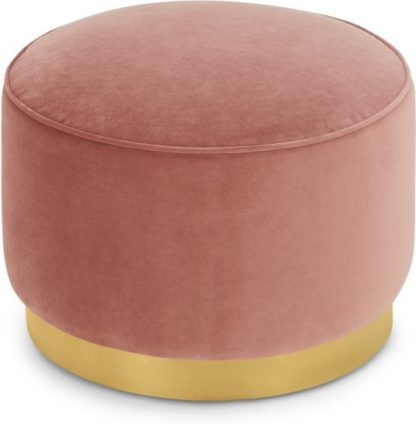 An Image of Hetherington Large Brass Base Pouffe, Blush Pink Velvet