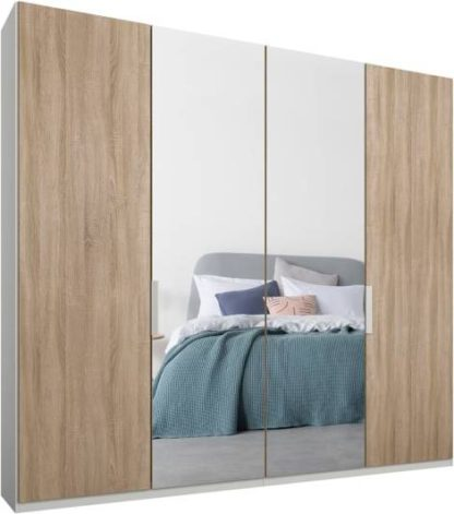 An Image of Caren 4 door 200cm Hinged Wardrobe, White Frame, Oak & Mirror Doors, Standard Interior