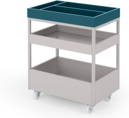 An Image of MADE Essentials Yumi Storage Trolley, Grey and Blue