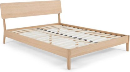 An Image of MADE Essentials Noka Double Bed, Oak