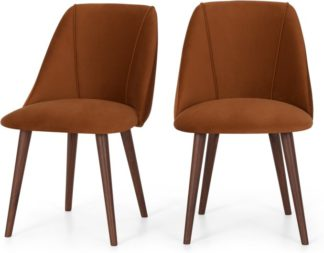 An Image of Set of 2 Lule Dining Chairs, Rust Velvet and Walnut