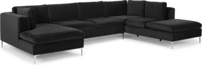An Image of Monterosso Right Hand Facing Corner Sofa, Midnight Grey Velvet