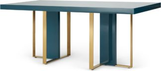An Image of Arpen 6 Seat Dining Table, Teal and Brass