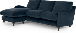 An Image of Sofia Chaise End, Velvet Plush Indigo