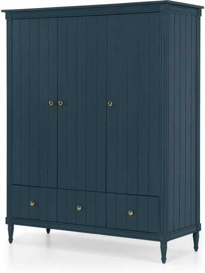 An Image of Bourbon Vintage 3 Door Triple Wardrobe, Vintage Blue