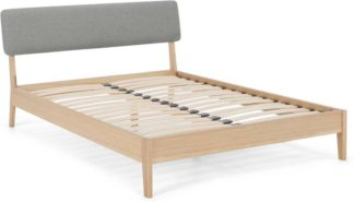 An Image of MADE Essentials Noka Double Bed, Upholstered Cool Grey & Oak