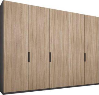 An Image of Caren 5 door 250cm Hinged Wardrobe, Graphite Grey Frame, Oak Doors, Classic Interior