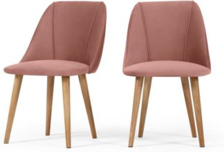 An Image of Set of 2 Lule Dining Chairs, Blush Pink Velvet
