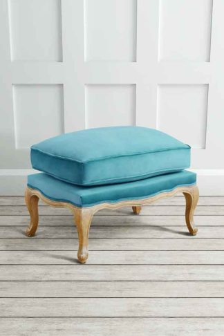 An Image of Le Notre French Vintage Style Shabby Chic Oak Stool Teal