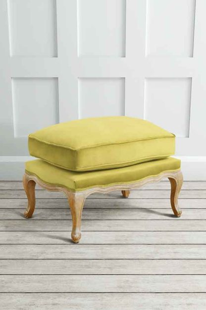 An Image of Le Notre French Vintage Style Shabby Chic Oak Stool Olive