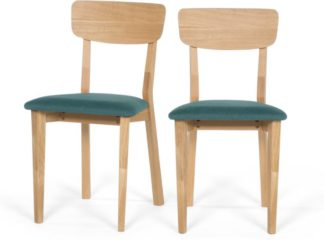 An Image of Set of 2 Jenson Dining chairs, Oak and Mineral Blue