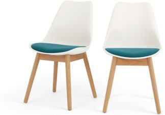 An Image of Set of 2 Thelma dining chairs, White and blue fabric
