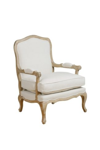 An Image of Le Brun - French Oak Oatmeal Occasional Armchair