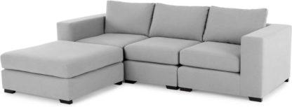 An Image of Mortimer 4 Seater Modular Corner Sofa, Chalk Grey Cotton