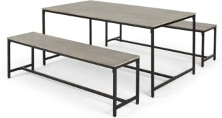 An Image of Lomond Dining Table and Bench Set, Grey Washed Mango Wood