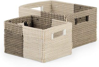 An Image of Havana Set of 2 Seagrass Storage Baskets, Black & White