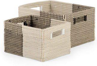 An Image of Havana Set of 2 Seagrass Storage Baskets, Black & White