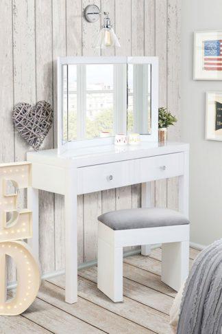 An Image of MADISON White Glass Dressing Table, White Triple Folding Mirror & White Glass Stool