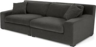An Image of Delaney 3 Seater Sofa, Dark Pewter Velvet
