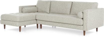 An Image of Scott 4 Seater Left Hand Facing Chaise End Corner Sofa, Grey Basketweave
