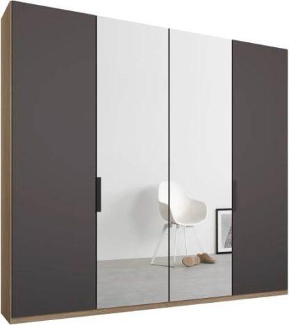 An Image of Caren 4 door 200cm Hinged Wardrobe, Oak Frame, Matt Graphite Grey & Mirror Doors, Standard Interior