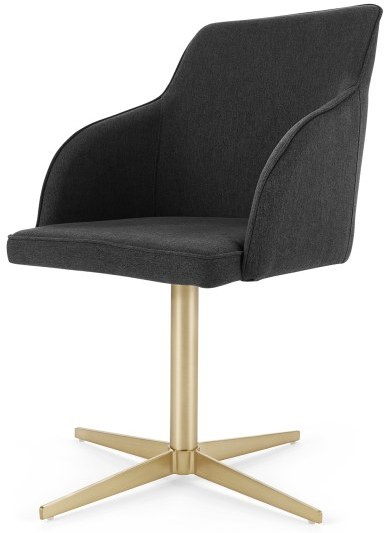 An Image of Keira Office Chair, Flint Grey and Brass