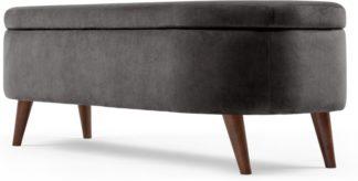 An Image of Lulu Ottoman Bench, Asphalt Grey Velvet