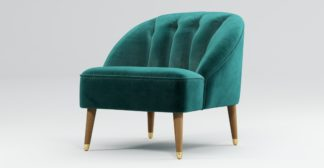 An Image of Custom MADE Margot Armchair, Peacock Blue Velvet, Light Wood Brass Leg