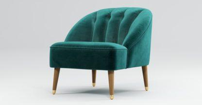 An Image of Custom MADE Margot Armchair, Peacock Blue Velvet, Light Wood Brass Leg