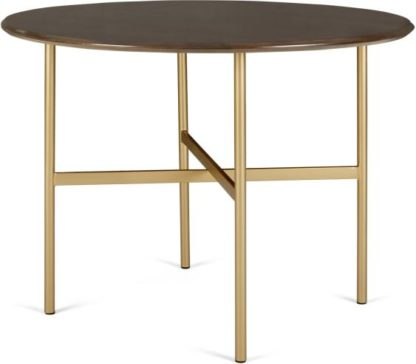 An Image of Bortolin 4 Seat Round Dining Table, Mango Wood and Brass