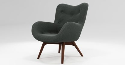 An Image of Custom MADE Doris Accent Chair, Shetland Slate with Dark Wood Legs