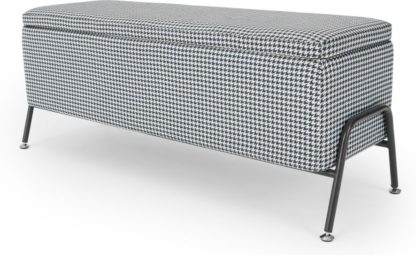 An Image of Knox Ottoman Storage Bench, Blue Dog Tooth